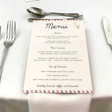 Wedding Menu by Travel Wedding Menu By Rodo Creative Notonthehighstreet