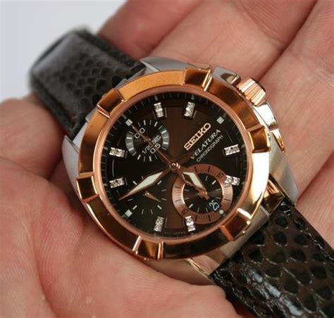 Seiko Velatura Rosegold Combi White Brown Leather s watches seiko velatura certified 16 diamonds sndz20p1 water resistant 100meters for