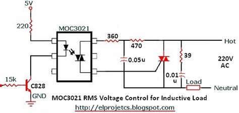 inductive load circuit moc3021 circuitry for inductive load with snubber circuit telecommunication and electronics