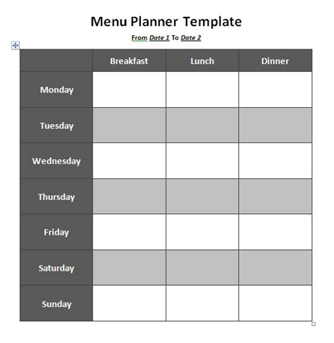 free menu planning template word documents free word templates
