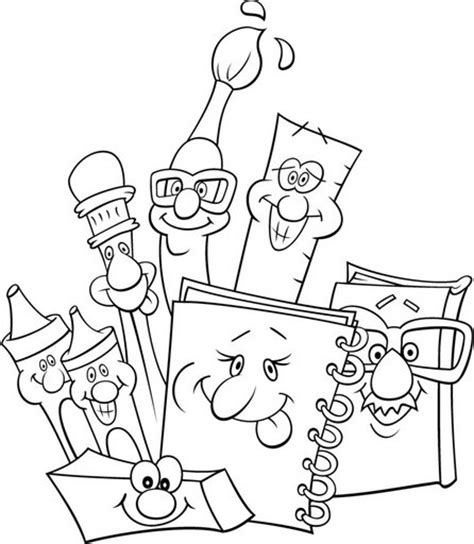 school supplies back to school free coloring pages