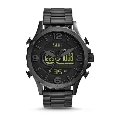 nate analog digital black stain stainless steel fossil