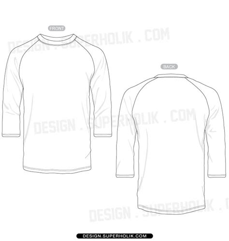 3 4 Sleeve Shirt Template Set Hellovector Sleeve Template