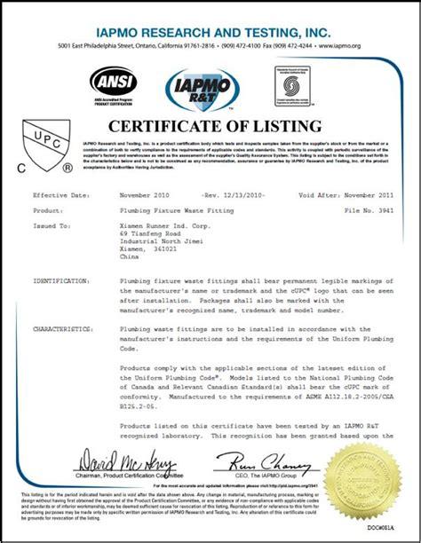 Diploma Of Plumbing by Upc Certificate Of Plumbing Fixture Waste Fitting Ningbo