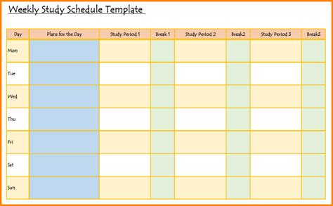 Study Template Timetable schedule sheet template calendar template 2016