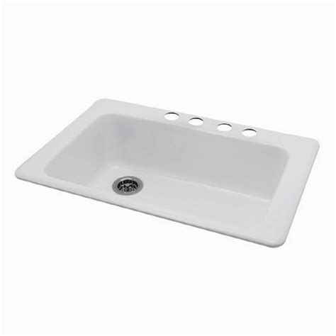Lowes Undermount Kitchen Sinks Shop American Standard Silhouette Single Basin Drop In Or Undermount Porcelain Kitchen Sink At