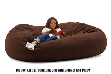 big joe fuf bean bag bed with blanket and pillow