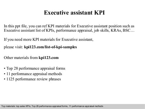 Sample Resume Objectives For Manufacturing by Executive Assistant Kpi