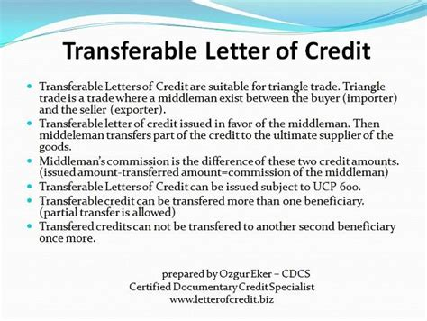 Transferable Letter Of Credit Types Of Letters Of Credit Presentation 6 Lc Worldwide International Letter Of Credit