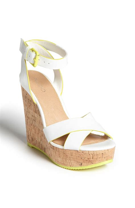white sandal wedges aldo aldo brimfield wedge sandal in white white neon
