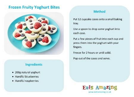 printable simple recipes easy recipes for kids frozen fruity yoghurt bites eats