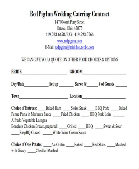 Wedding Catering Contract Sle by Sle Wedding Contract Agreements 9 Exles In Word Pdf