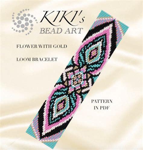 bead loom flower patterns bead loom pattern flower with gold loom bracelet pattern in