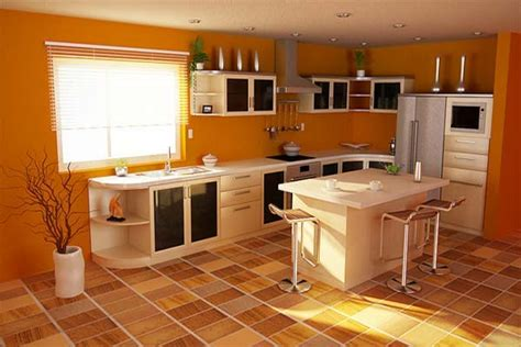 Kitchen Design And Color Orange Style Kitchen For Lasting Impression Interior Designing Ideas
