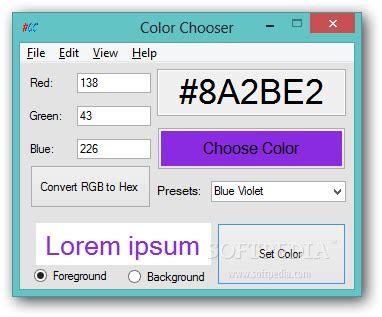 hex color chooser color chooser