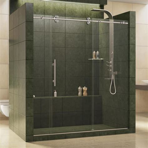 Glass Shower Doors Lowes Shop Dreamline Enigma 68 In To 72 In W X 79 In H Frameless Sliding Shower Door At Lowes