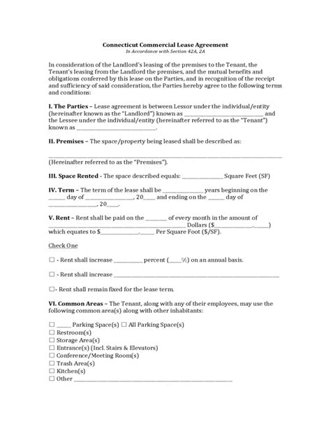 Connecticut Commercial Lease Agreement Free Download Domain Lease Agreement Template