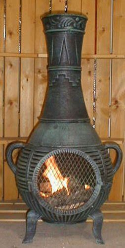 Best Value Chiminea The Blue Rooster Cast Aluminum Pine Chiminea With Gas In