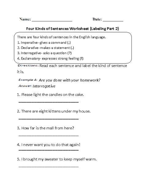 Types Of Sentences Worksheets 3rd Grade by Kinds Of Sentences Worksheets Different Kinds Of