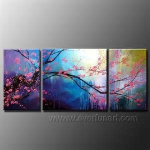 handpainted cherry blossom wall decor 3 canvas