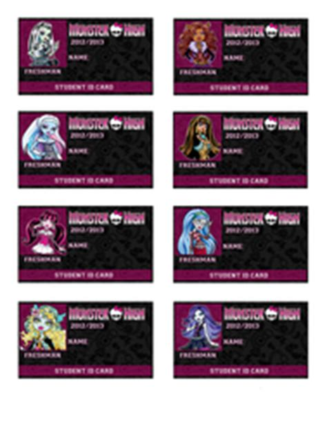monster high printable id cards party favors monster high party supplies