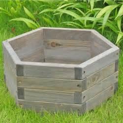 small 16 x 16 x 7 inch hexagon fir wood garden planter box aquagarden aquaponics systems