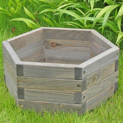 Best Wood For Garden Boxes by Small 16 X 16 X 7 Inch Hexagon Fir Wood Garden Planter Box