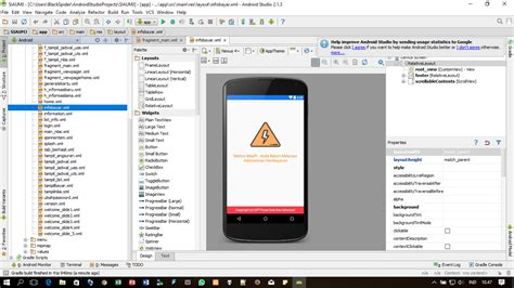 android studio missing layout missing styles is the correct theme chosen for this