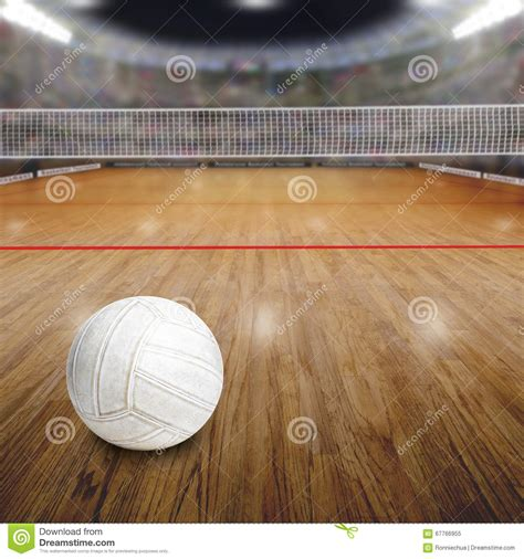 wood ball floor l volleyball court with ball on wood floor and copy space