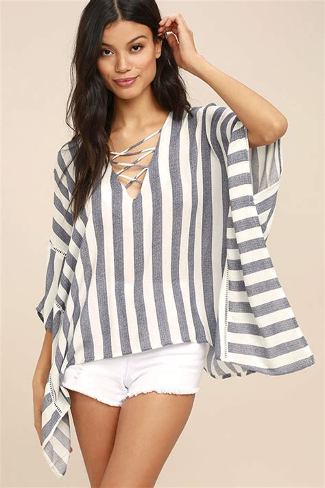 Atasan Top Boho Stripe Blue boho top blue and white striped top kaftan top 63 00