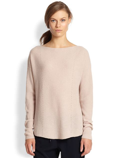 soft boat neck sweater lyst vince ribbed cashmere relaxed boatneck sweater in pink