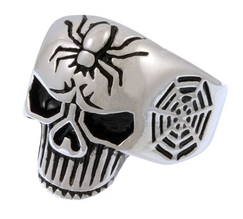 Cincin Titanium Ring Biker 3 Accessories Jewelry Skull Ring stainless steel spider web skull ring http store bikerornot stainless steel spider web
