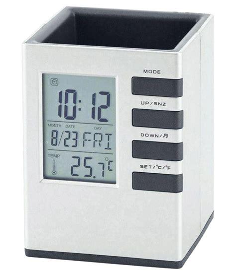 Promo Color Change Digital Desk Clock With Pen Holder Jk 286 tuelip digital clock office corporate pen holder cube desk