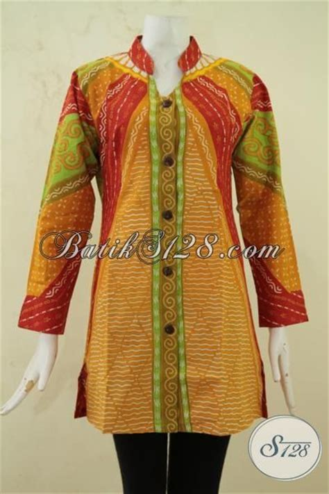 F20217004mot1 Xl Blus Batik Tulis Panjang Atasan Batik Kantor Murah batik kombinasi tulis baju kerja wanita muda size s baju
