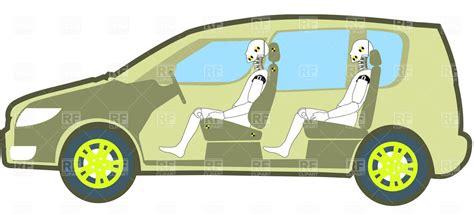 crash dummies car crash test dummies in the test car royalty free vector