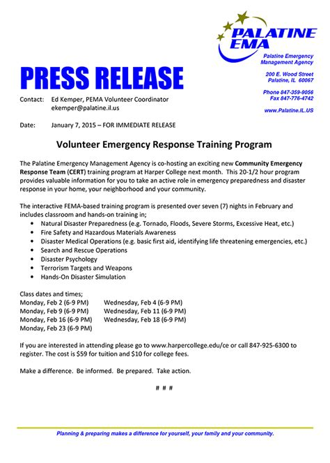 press release sle template palatine ema offers cert 171 chicagoareafire