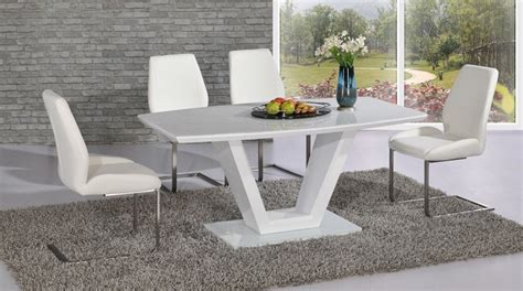Glass Dining Table With White Chairs Modern White High Gloss Glass Dining Table And 6 Chairs Set Ebay
