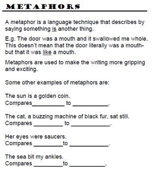 sle of metaphor simile metaphor worksheet high school simile best free