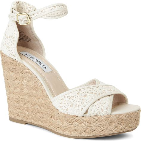 steve madden marrvil crochet wedge sandals in white