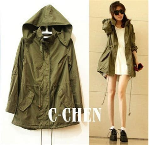 Fashion Jacket Parka fashion s army green parka button trench