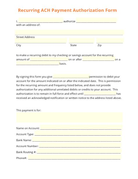 payment authorization form template ach payment authorization form template templates