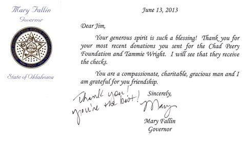 thank you letter to after receiving gift tornado 2013 oklahoma