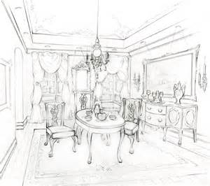 Sketch Of Dining Room by Drawings