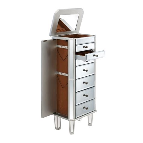 powell mirrored jewelry armoire with silver wood powell mirrored jewelry armoire in silver wood 233 314