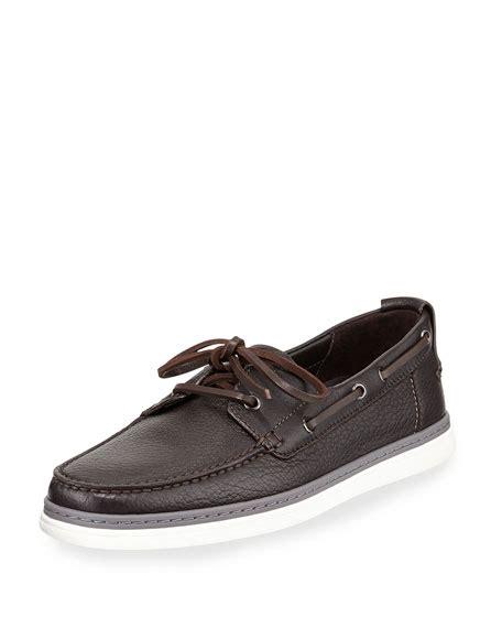 zegna boat shoes ermenegildo zegna leather boat shoe dark brown neiman