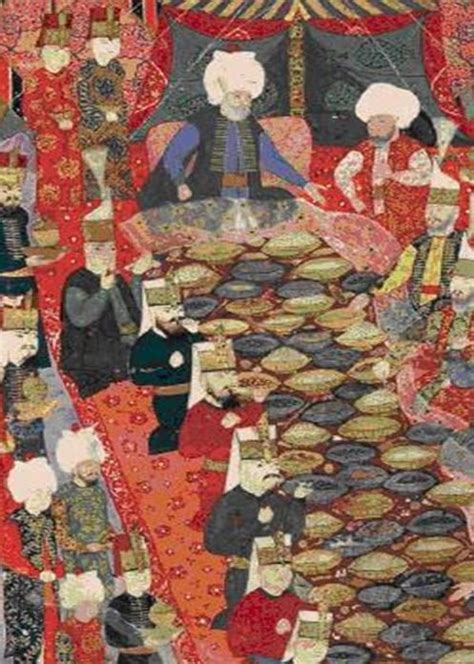 ottoman painting of a banquet given by the commander in
