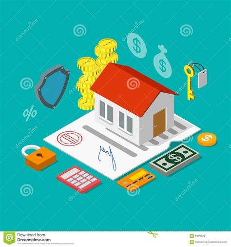 mortgage on the house concept business icon of the mortgage loan cartoon vector