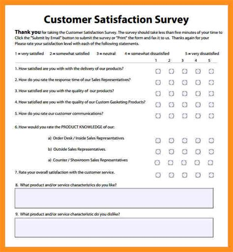 Questionnaire Exle 11 Customer Satisfaction Survey Template Excel Fillin