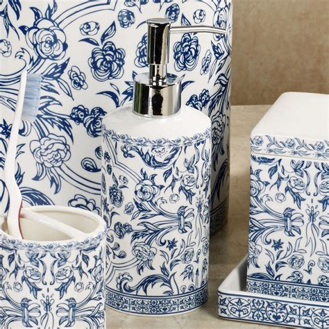 Orsay Blue Toile Porcelain Bath Accessories Toile Bathroom Accessories