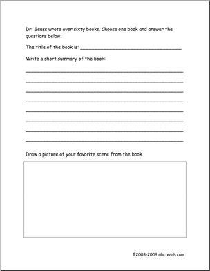 abc book report book report dr seuss theme easy worksheet abcteach